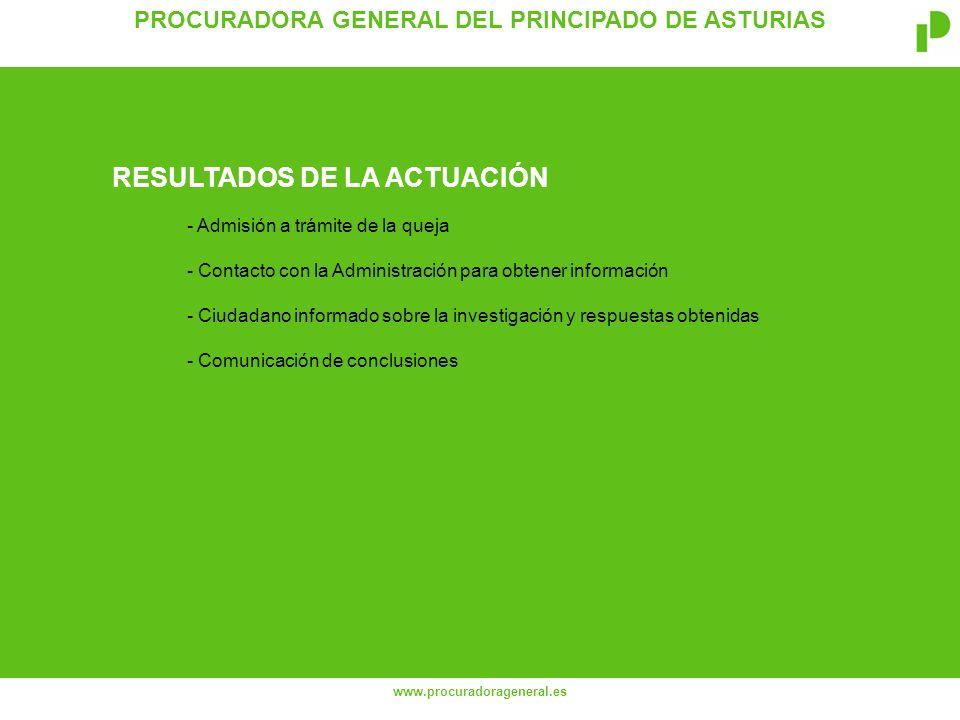 PROCURADORA GENERAL DEL PRINCIPADO DE ASTURIAS www.procuradorageneral.es - Admisión a trámite de la queja - Contacto con la Administración para obtener información - Ciudadano informado sobre la investigación y respuestas obtenidas - Comunicación de conclusiones RESULTADOS DE LA ACTUACIÓN