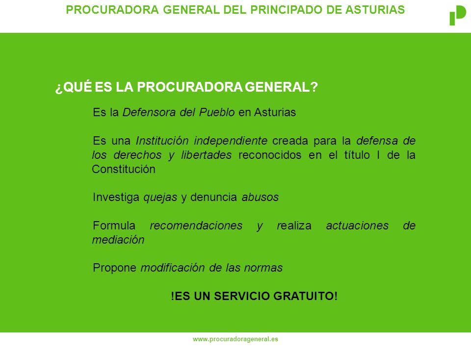 PROCURADORA GENERAL DEL PRINCIPADO DE ASTURIAS www.procuradorageneral.es Salvaguardar y defender los derechos de los ciudadanos en sus relaciones con las administraciones públicas asturianas ¿CUÁL ES LA FUNCIÓN PRIMORDIAL DE LA INSTITUCIÓN?