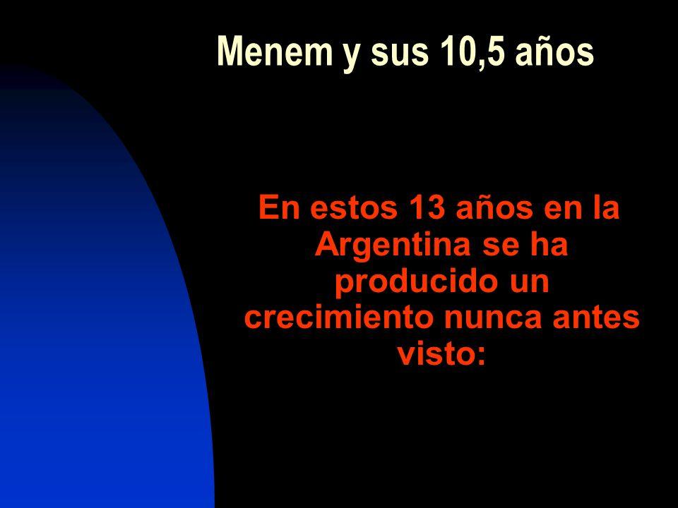 Menem y sus 10,5 años En estos 13 años en la Argentina se ha producido un crecimiento nunca antes visto: