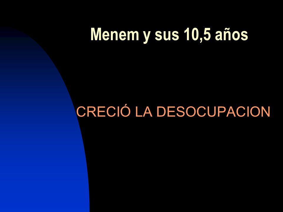 Menem y sus 10,5 años CRECIÓ LA DESOCUPACION