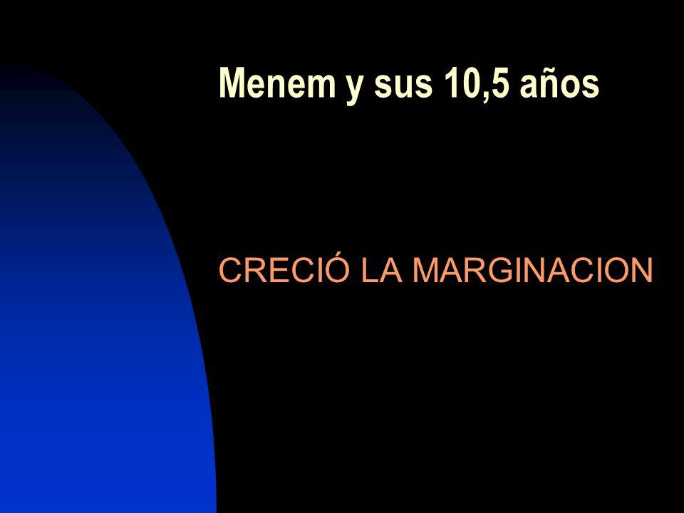 Menem y sus 10,5 años CRECIÓ LA MARGINACION