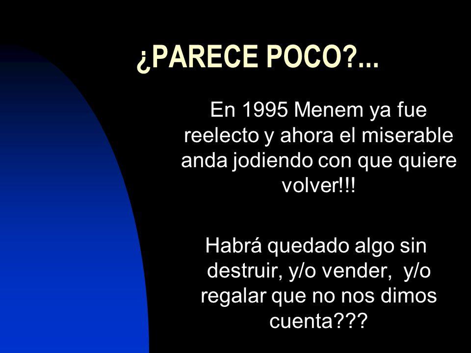 ¿PARECE POCO?... En 1995 Menem ya fue reelecto y ahora el miserable anda jodiendo con que quiere volver!!! Habrá quedado algo sin destruir, y/o vender