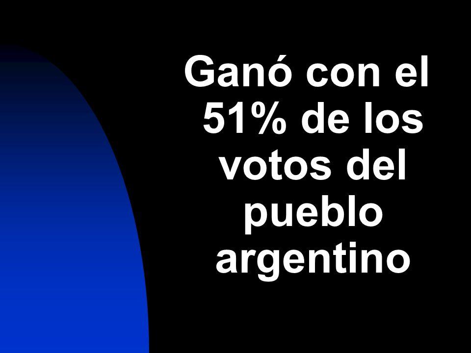 Ganó con el 51% de los votos del pueblo argentino