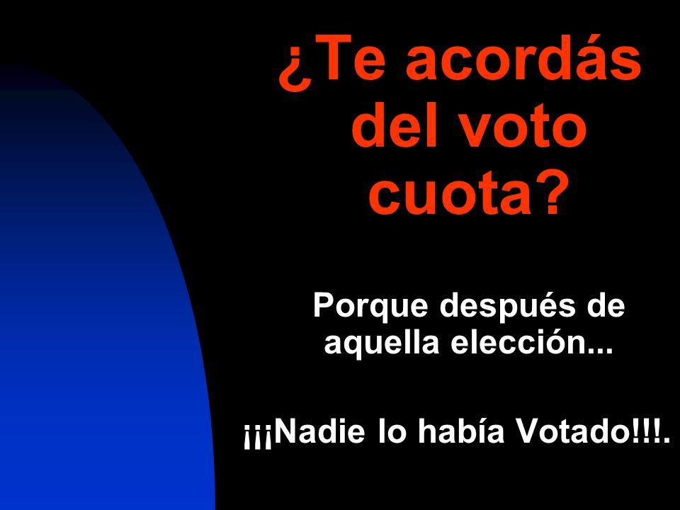 ¿Te acordás del voto cuota? Porque después de aquella elección... ¡¡¡Nadie lo había Votado!!!.