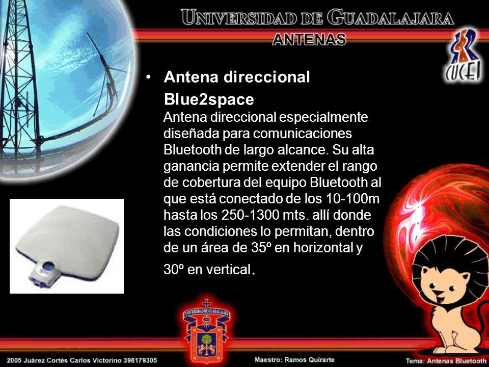 Antena direccional Blue2space Antena direccional especialmente diseñada para comunicaciones Bluetooth de largo alcance. Su alta ganancia permite exten