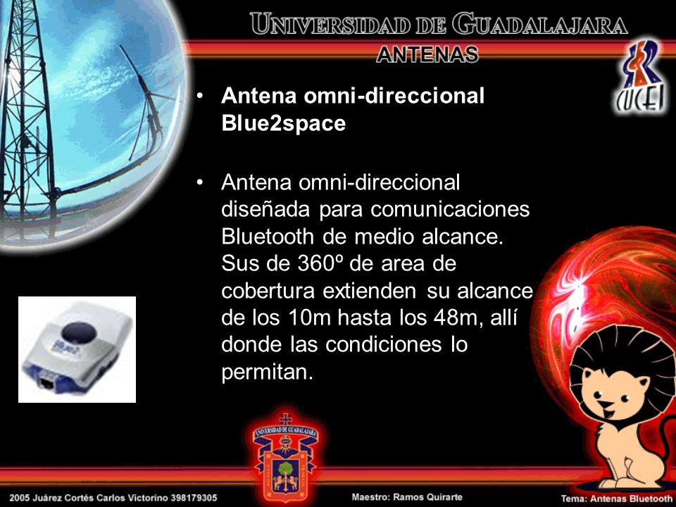 Antena omni-direccional Blue2space Antena omni-direccional diseñada para comunicaciones Bluetooth de medio alcance. Sus de 360º de area de cobertura e