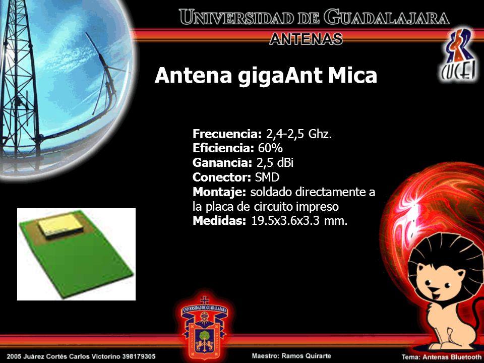 Antena gigaAnt Mica Frecuencia: 2,4-2,5 Ghz. Eficiencia: 60% Ganancia: 2,5 dBi Conector: SMD Montaje: soldado directamente a la placa de circuito impr
