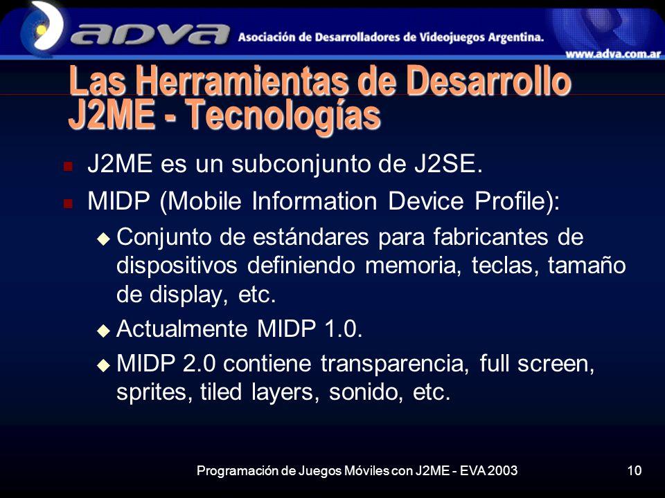 Programación de Juegos Móviles con J2ME - EVA 200310 Las Herramientas de Desarrollo J2ME - Tecnologías J2ME es un subconjunto de J2SE.