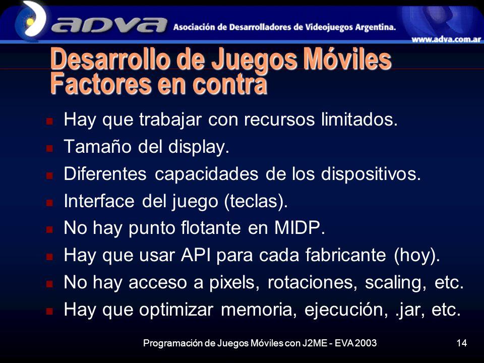 Programación de Juegos Móviles con J2ME - EVA 200314 Desarrollo de Juegos Móviles Factores en contra Hay que trabajar con recursos limitados.