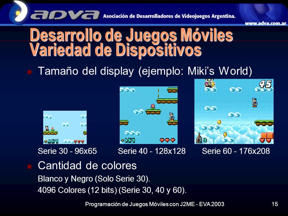 Programación de Juegos Móviles con J2ME - EVA 200315 Desarrollo de Juegos Móviles Variedad de Dispositivos Tamaño del display (ejemplo: Mikis World) Serie 30 - 96x65 Serie 40 - 128x128 Serie 60 - 176x208 Cantidad de colores Blanco y Negro (Solo Serie 30).