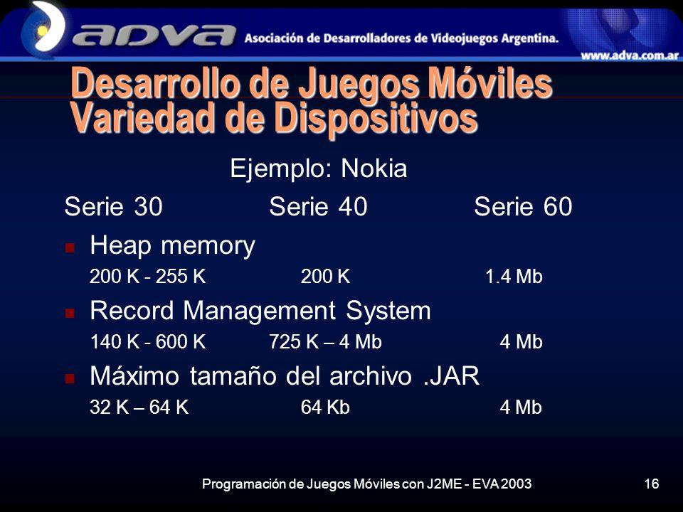 Programación de Juegos Móviles con J2ME - EVA 200316 Desarrollo de Juegos Móviles Variedad de Dispositivos Ejemplo: Nokia Serie 30Serie 40Serie 60 Heap memory 200 K - 255 K 200 K 1.4 Mb Record Management System 140 K - 600 K725 K – 4 Mb 4 Mb Máximo tamaño del archivo.JAR 32 K – 64 K 64 Kb 4 Mb
