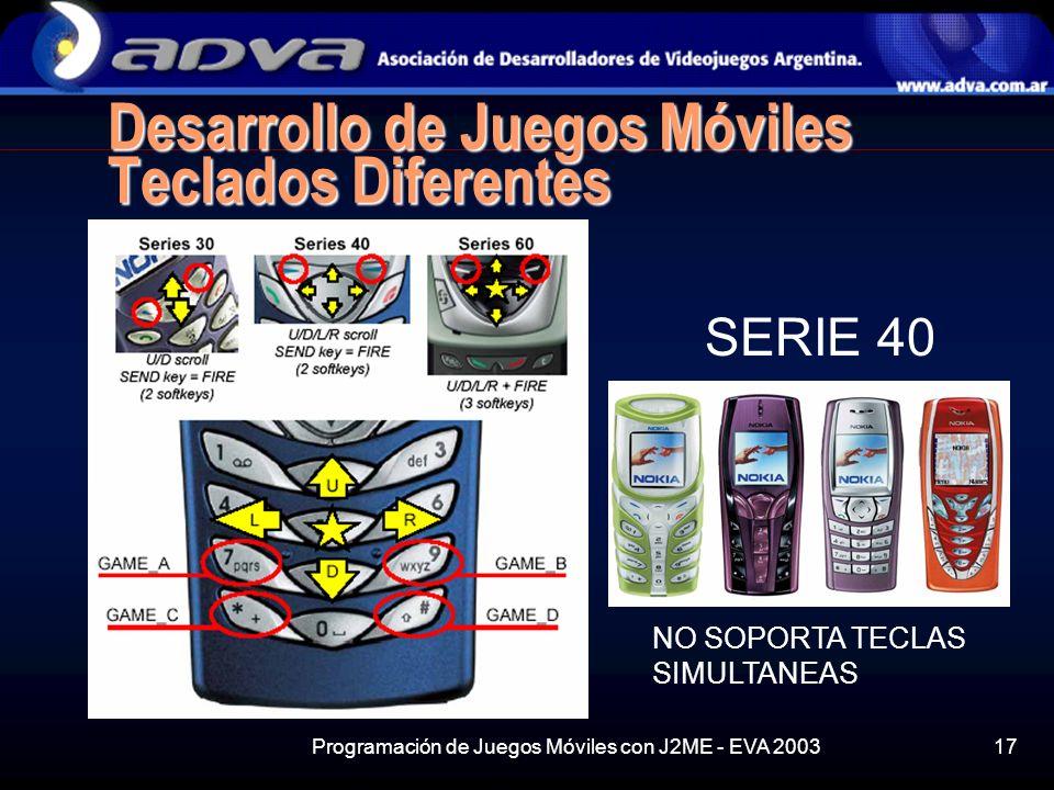 Programación de Juegos Móviles con J2ME - EVA 200317 Desarrollo de Juegos Móviles Teclados Diferentes SERIE 40 NO SOPORTA TECLAS SIMULTANEAS
