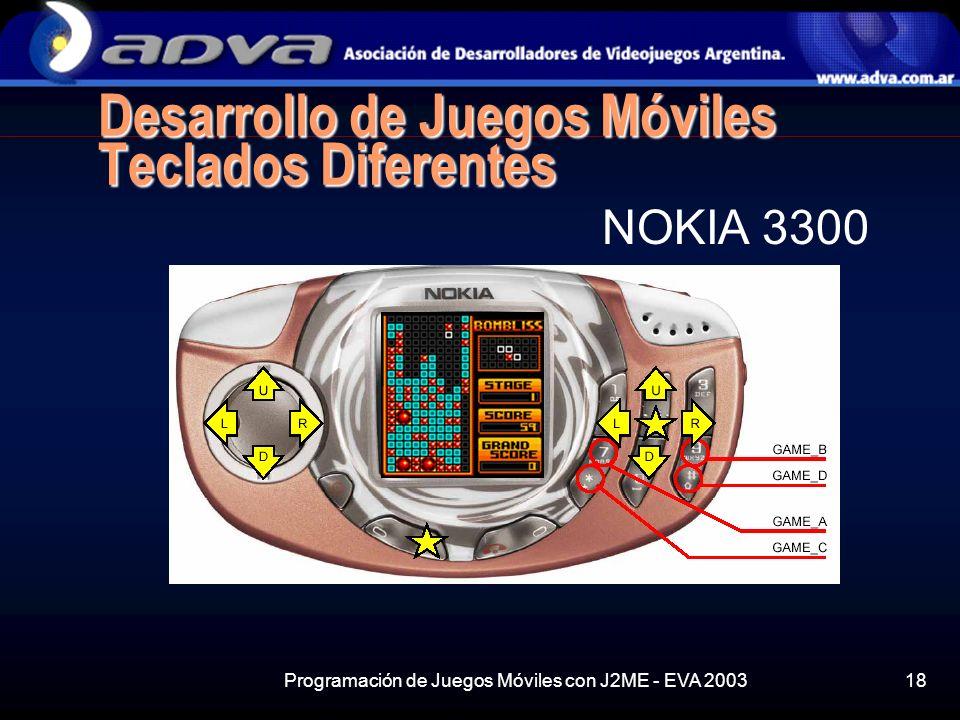 Programación de Juegos Móviles con J2ME - EVA 200318 Desarrollo de Juegos Móviles Teclados Diferentes NOKIA 3300