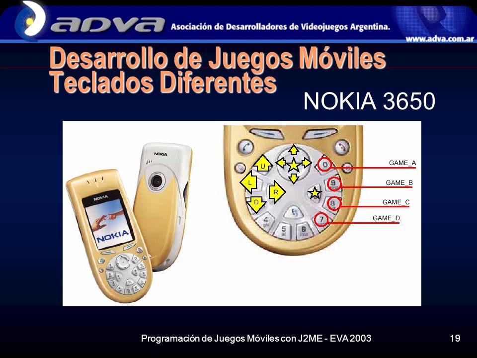 Programación de Juegos Móviles con J2ME - EVA 200319 Desarrollo de Juegos Móviles Teclados Diferentes NOKIA 3650