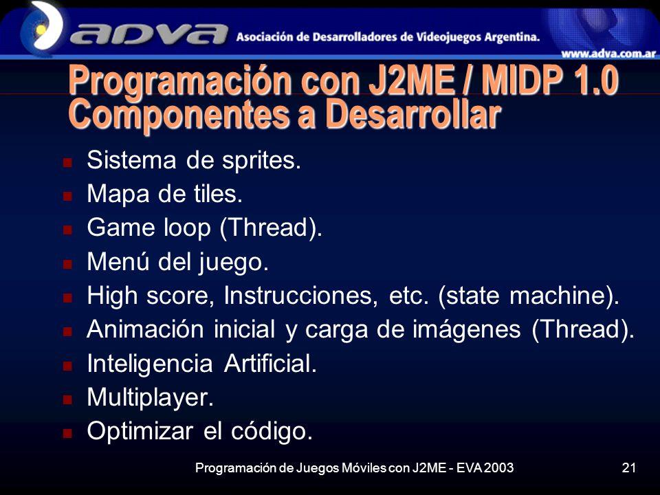 Programación de Juegos Móviles con J2ME - EVA 200321 Programación con J2ME / MIDP 1.0 Componentes a Desarrollar Sistema de sprites.