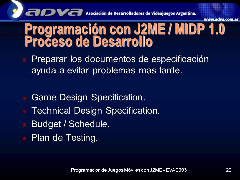 Programación de Juegos Móviles con J2ME - EVA 200322 Programación con J2ME / MIDP 1.0 Proceso de Desarrollo Preparar los documentos de especificación ayuda a evitar problemas mas tarde.