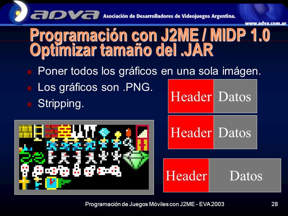 Programación de Juegos Móviles con J2ME - EVA 200328 Datos Programación con J2ME / MIDP 1.0 Optimizar tamaño del.JAR Poner todos los gráficos en una sola imágen.