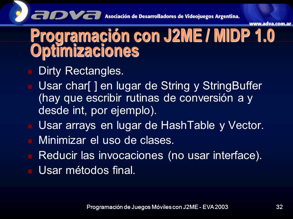 Programación de Juegos Móviles con J2ME - EVA 200332 Programación con J2ME / MIDP 1.0 Optimizaciones Dirty Rectangles.