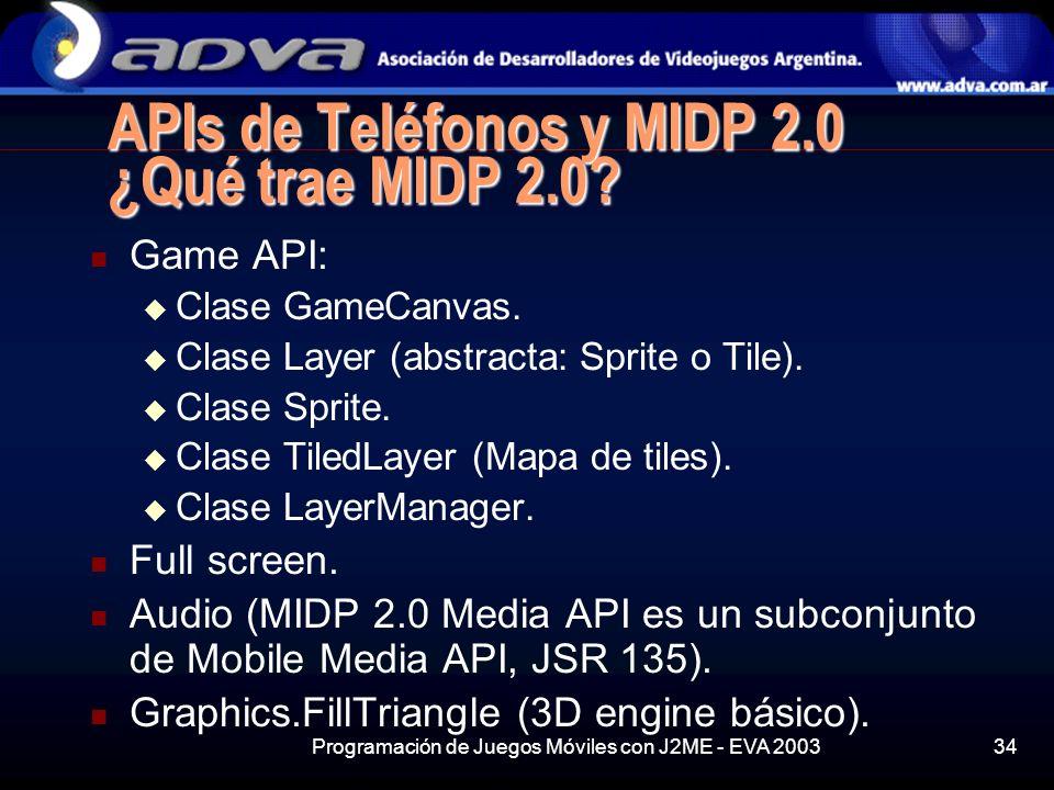 Programación de Juegos Móviles con J2ME - EVA 200334 APIs de Teléfonos y MIDP 2.0 ¿Qué trae MIDP 2.0.