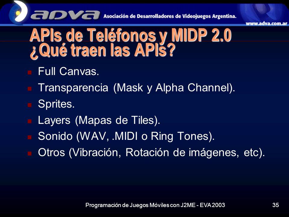 Programación de Juegos Móviles con J2ME - EVA 200335 APIs de Teléfonos y MIDP 2.0 ¿Qué traen las APIs.