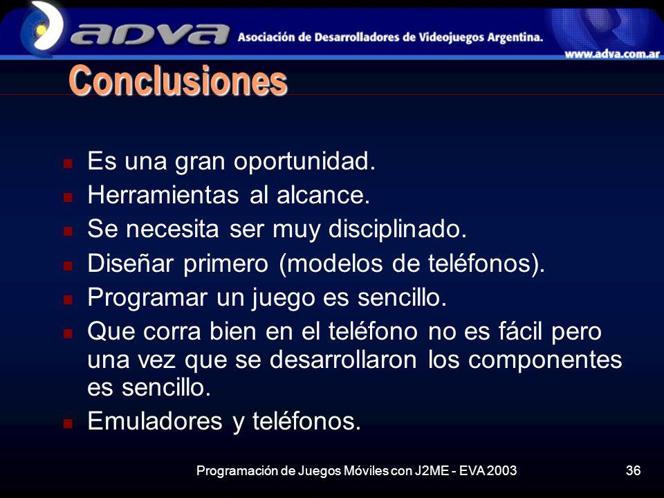 Programación de Juegos Móviles con J2ME - EVA 200336 Conclusiones Es una gran oportunidad.