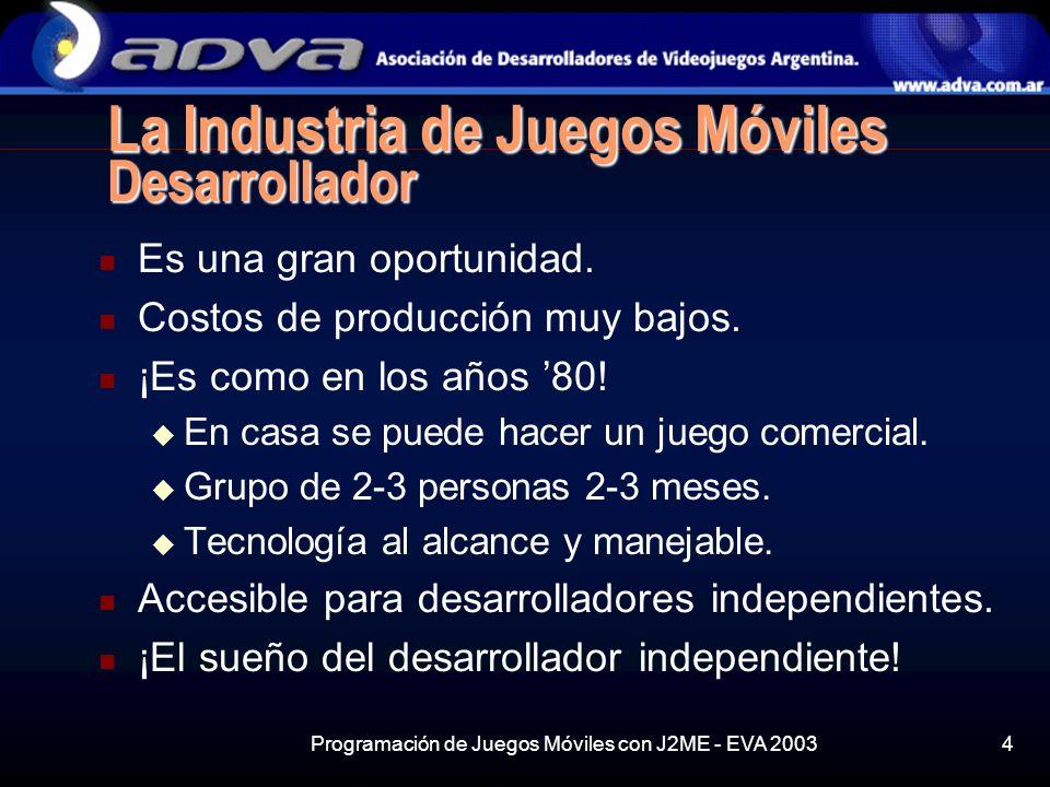 Programación de Juegos Móviles con J2ME - EVA 20034 La Industria de Juegos Móviles Desarrollador Es una gran oportunidad.