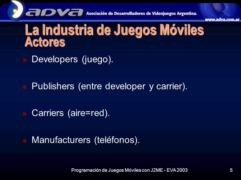 Programación de Juegos Móviles con J2ME - EVA 20035 La Industria de Juegos Móviles Actores Developers (juego).