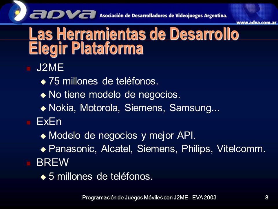 Programación de Juegos Móviles con J2ME - EVA 20038 Las Herramientas de Desarrollo Elegir Plataforma J2ME 75 millones de teléfonos.