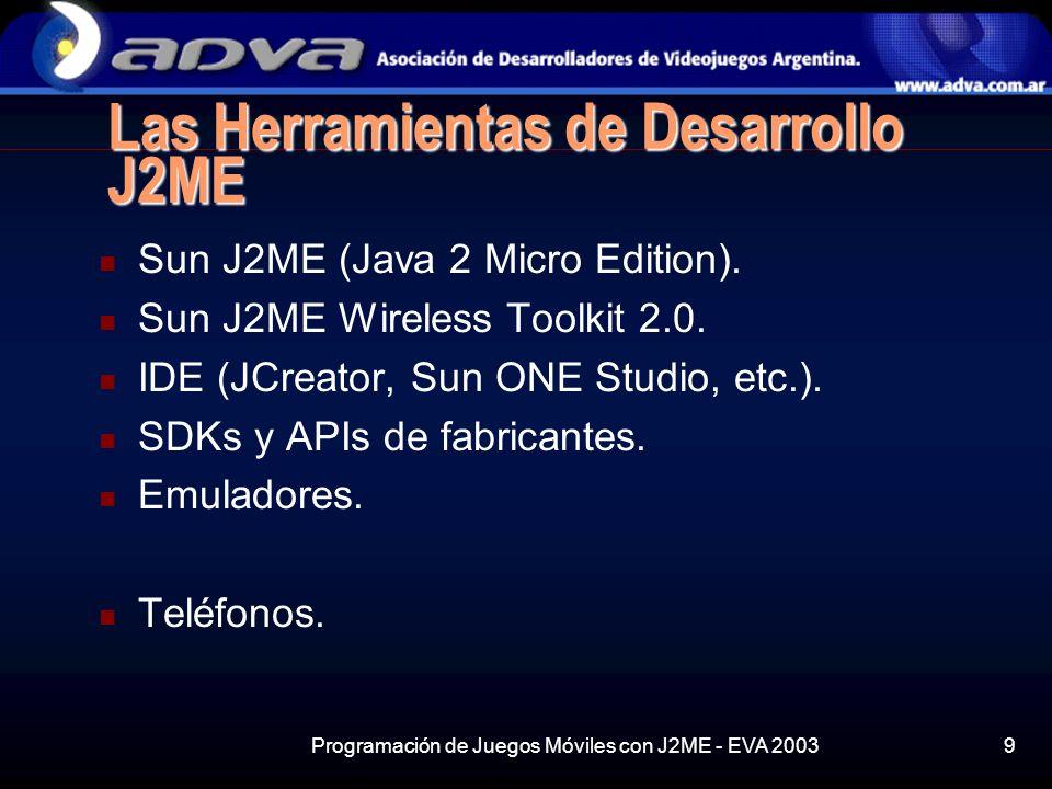 Programación de Juegos Móviles con J2ME - EVA 20039 Las Herramientas de Desarrollo J2ME Sun J2ME (Java 2 Micro Edition).