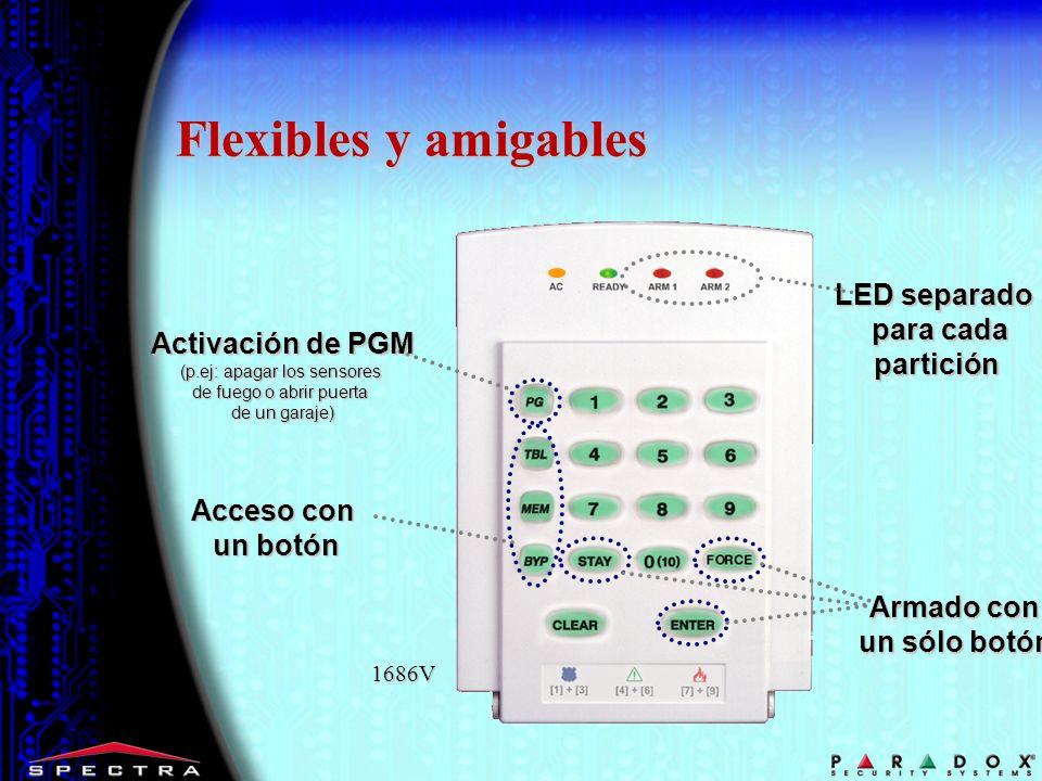 Flexibles y amigables LED separado para cada partición Acceso con un botón Armado con un sólo botón Activación de PGM (p.ej: apagar los sensores de fu