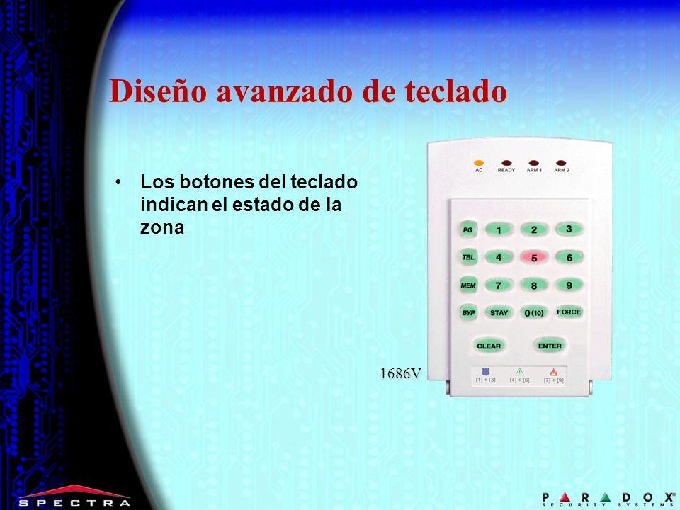 1686V Diseño avanzado de teclado Los botones del teclado indican el estado de la zona