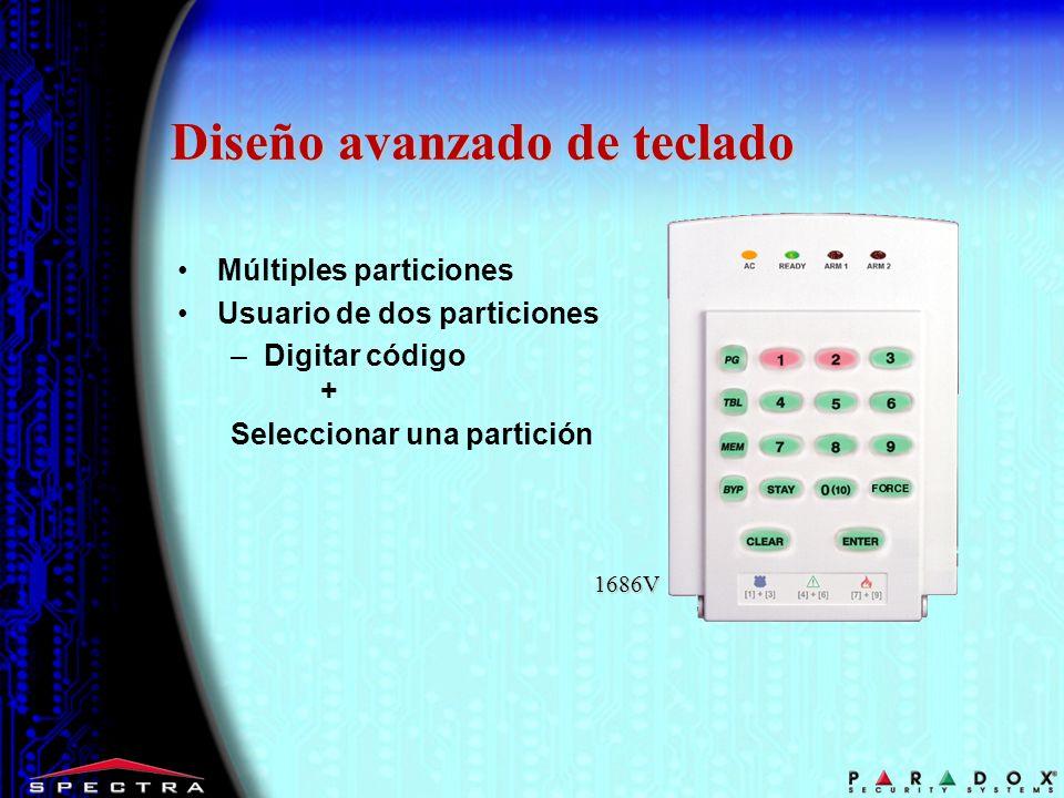 Múltiples particiones Usuario de dos particiones –Digitar código + Seleccionar una partición 1686V Diseño avanzado de teclado