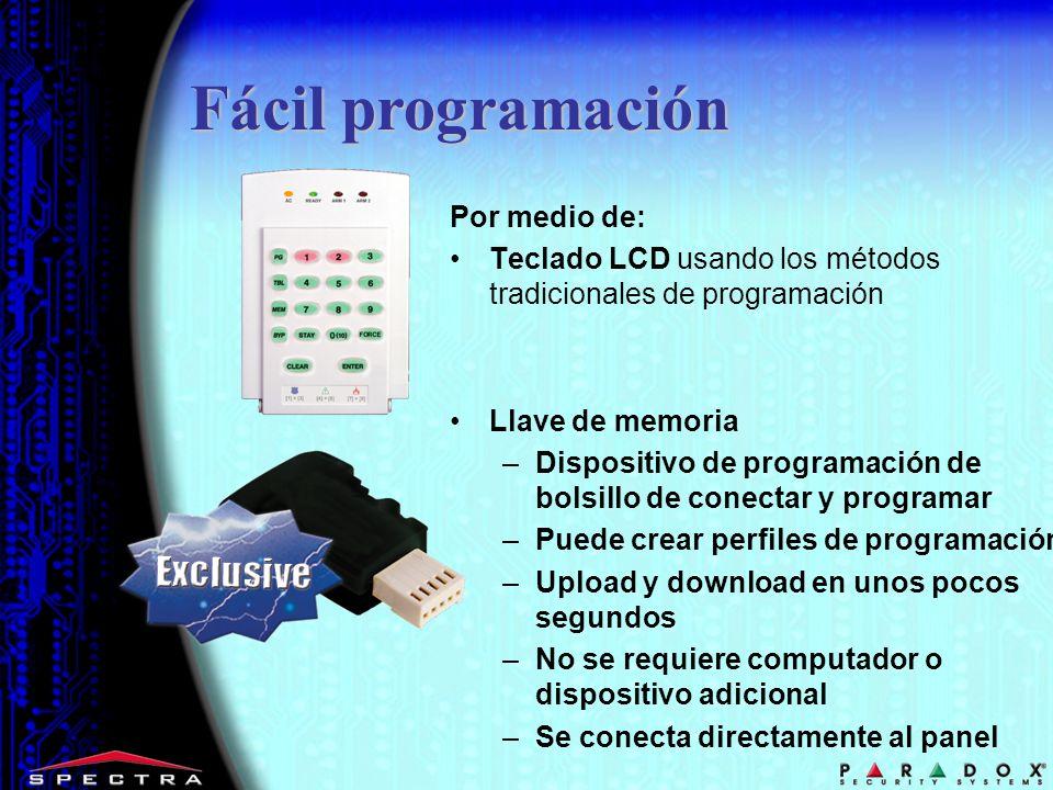 Por medio de: Teclado LCD usando los métodos tradicionales de programación Llave de memoria –Dispositivo de programación de bolsillo de conectar y pro