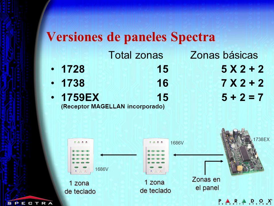 Versiones de paneles Spectra Total zonas Zonas básicas 1728 15 5 X 2 + 2 1738 16 7 X 2 + 2 1759EX 15 5 + 2 = 7 (Receptor MAGELLAN incorporado) Zonas en el panel 1738EX 1 zona de teclado 1686V 1 zona de teclado 1686V
