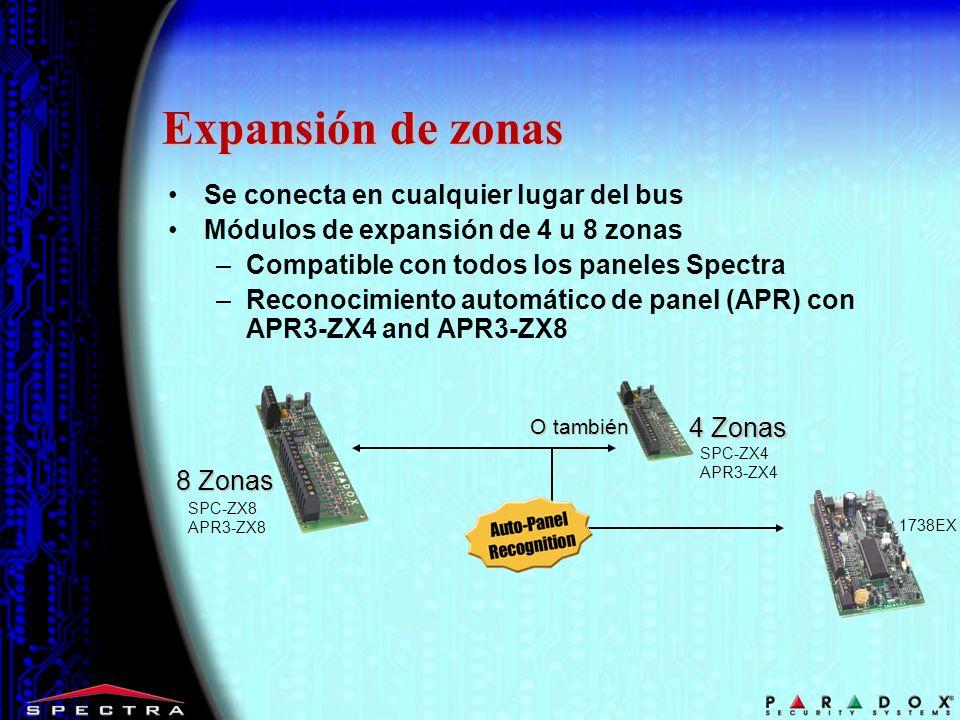 Expansión de zonas Se conecta en cualquier lugar del bus Módulos de expansión de 4 u 8 zonas –Compatible con todos los paneles Spectra –Reconocimiento