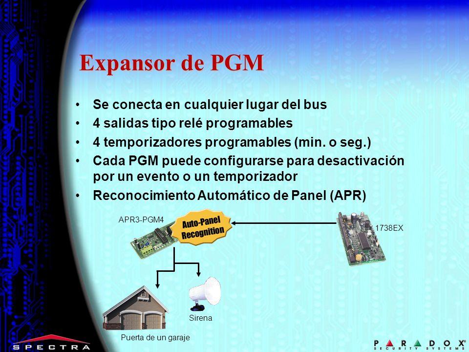 Expansor de PGM APR3-PGM4 Puerta de un garaje Sirena Se conecta en cualquier lugar del bus 4 salidas tipo relé programables 4 temporizadores programab