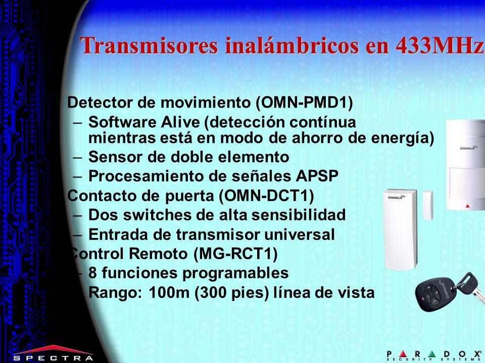 Detector de movimiento (OMN-PMD1) –Software Alive (detección contínua mientras está en modo de ahorro de energía) –Sensor de doble elemento –Procesami