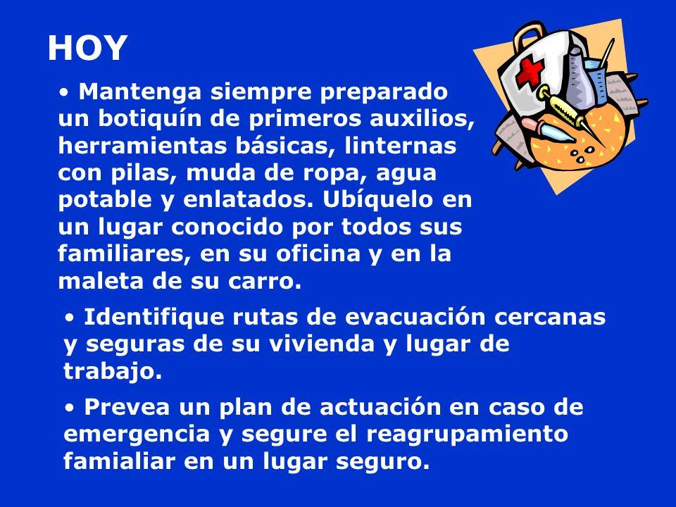 Identifique rutas de evacuación cercanas y seguras de su vivienda y lugar de trabajo. Prevea un plan de actuación en caso de emergencia y segure el re