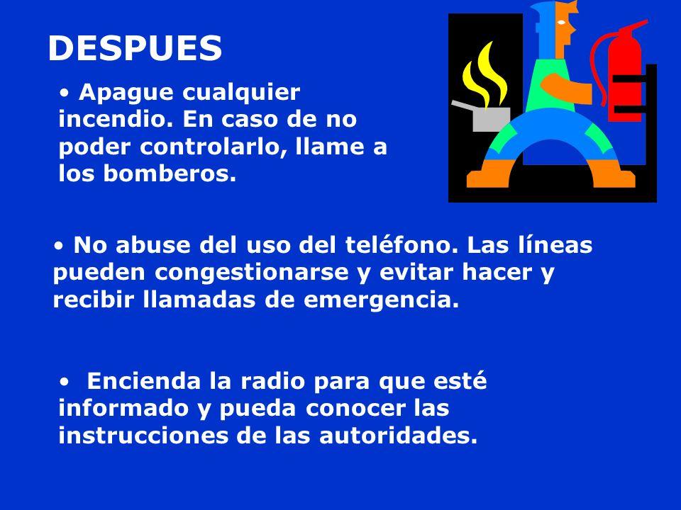 No abuse del uso del teléfono. Las líneas pueden congestionarse y evitar hacer y recibir llamadas de emergencia. Encienda la radio para que esté infor