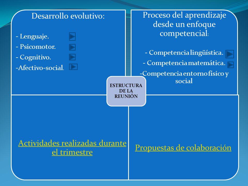 Desarrollo evolutivo: - Lenguaje. - Psicomotor. - Cognitivo. -Afectivo-social. Proceso del aprendizaje desde un enfoque competencial : - Competencia l