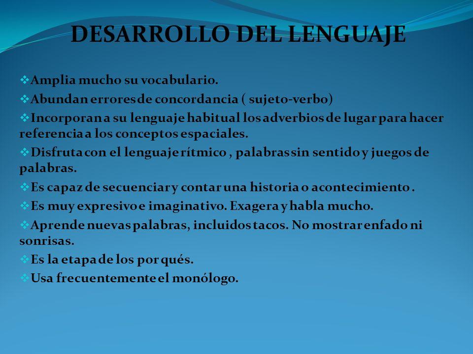 DESARROLLO DEL LENGUAJE Amplia mucho su vocabulario. Abundan errores de concordancia ( sujeto-verbo) Incorporan a su lenguaje habitual los adverbios d