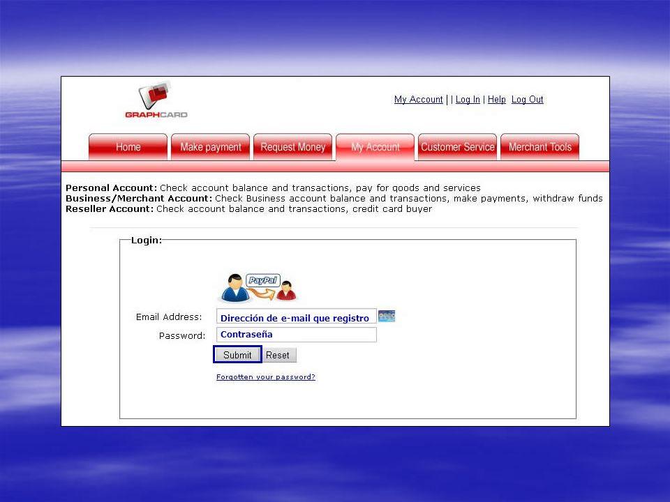 Dirección de e-mail que registro Contraseña