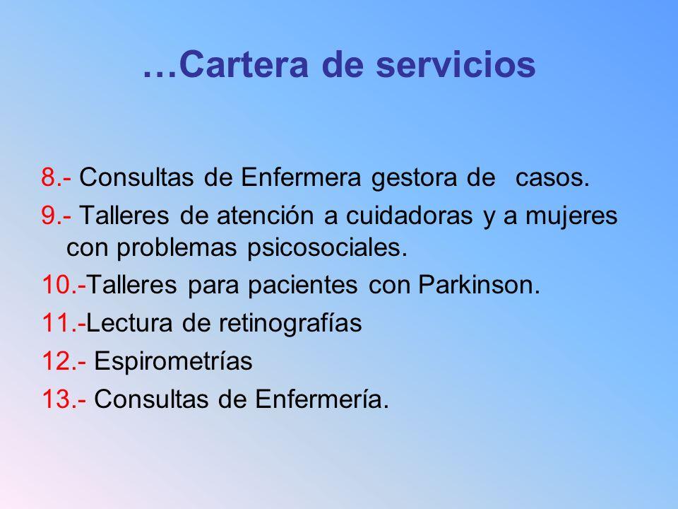 …Cartera de servicios 8.- Consultas de Enfermera gestora de casos. 9.- Talleres de atención a cuidadoras y a mujeres con problemas psicosociales. 10.-