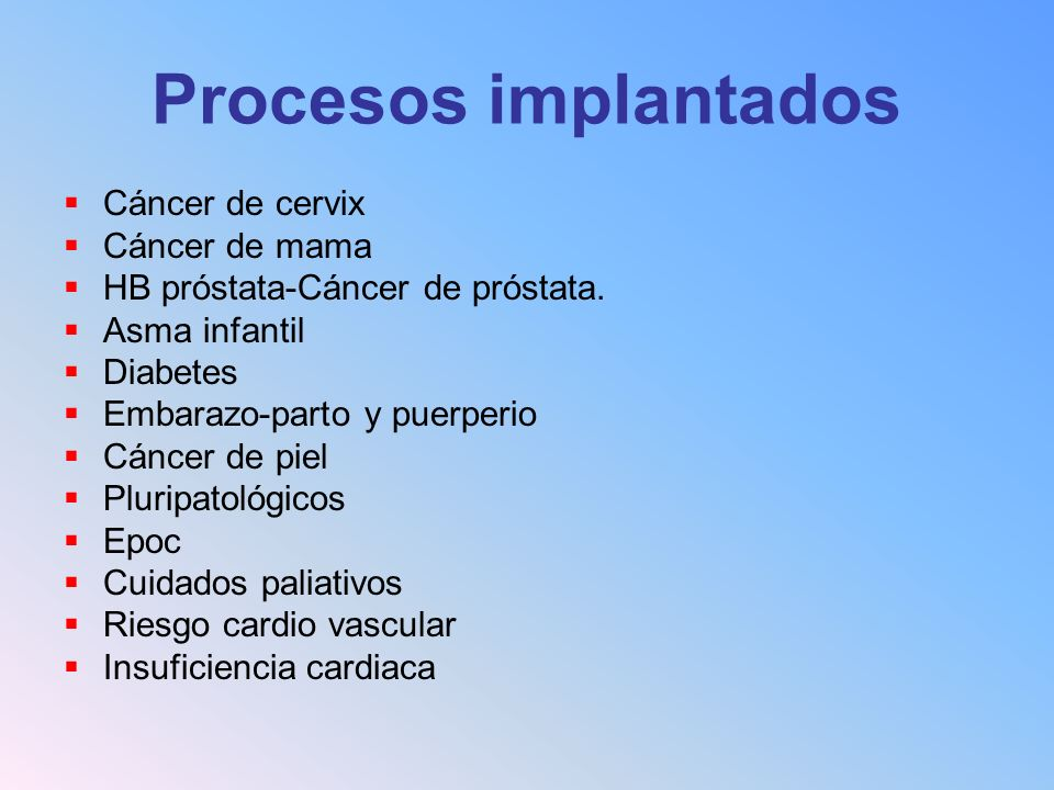 Procesos implantados Cáncer de cervix Cáncer de mama HB próstata-Cáncer de próstata. Asma infantil Diabetes Embarazo-parto y puerperio Cáncer de piel