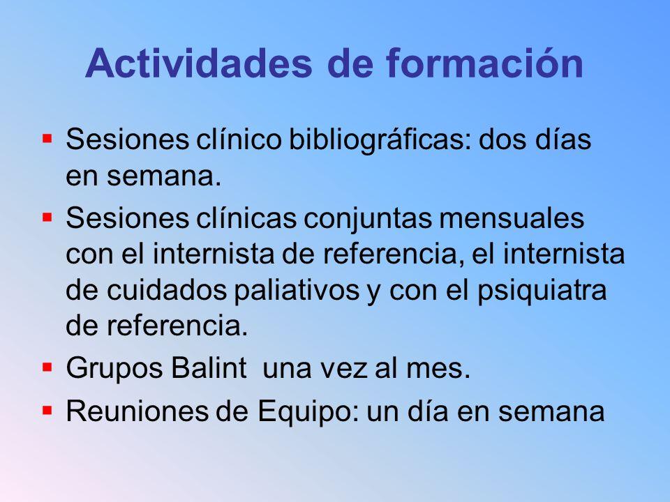 Actividades de formación Sesiones clínico bibliográficas: dos días en semana. Sesiones clínicas conjuntas mensuales con el internista de referencia, e