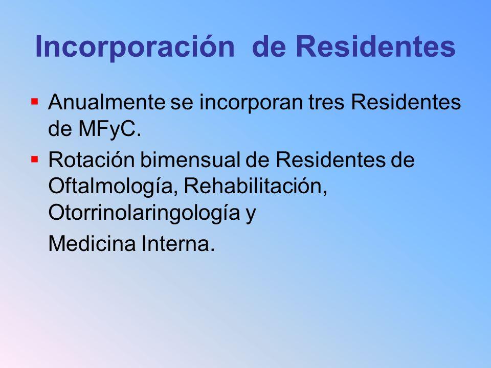 Incorporación de Residentes Anualmente se incorporan tres Residentes de MFyC. Rotación bimensual de Residentes de Oftalmología, Rehabilitación, Otorri