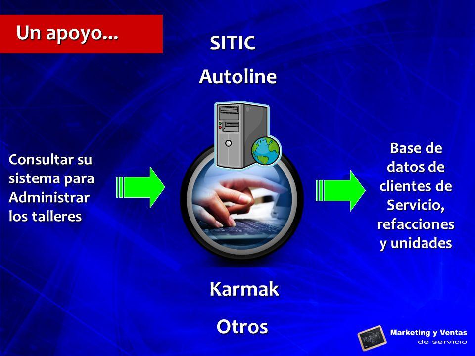 Karmak Autoline Consultar su sistema para Administrar los talleres Base de datos de clientes de Servicio, refacciones y unidades Otros SITIC Un apoyo.