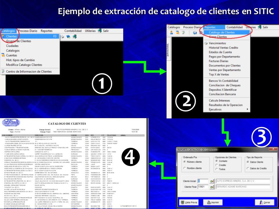 Ejemplo de extracción de catalogo de clientes en SITIC 1 2 3 4