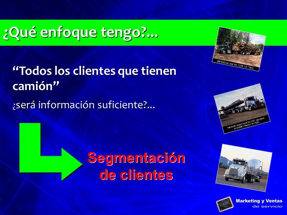 Todos los clientes que tienen camión ¿ será información suficiente?... Todos los clientes que tienen camión ¿ será información suficiente?... Segmenta
