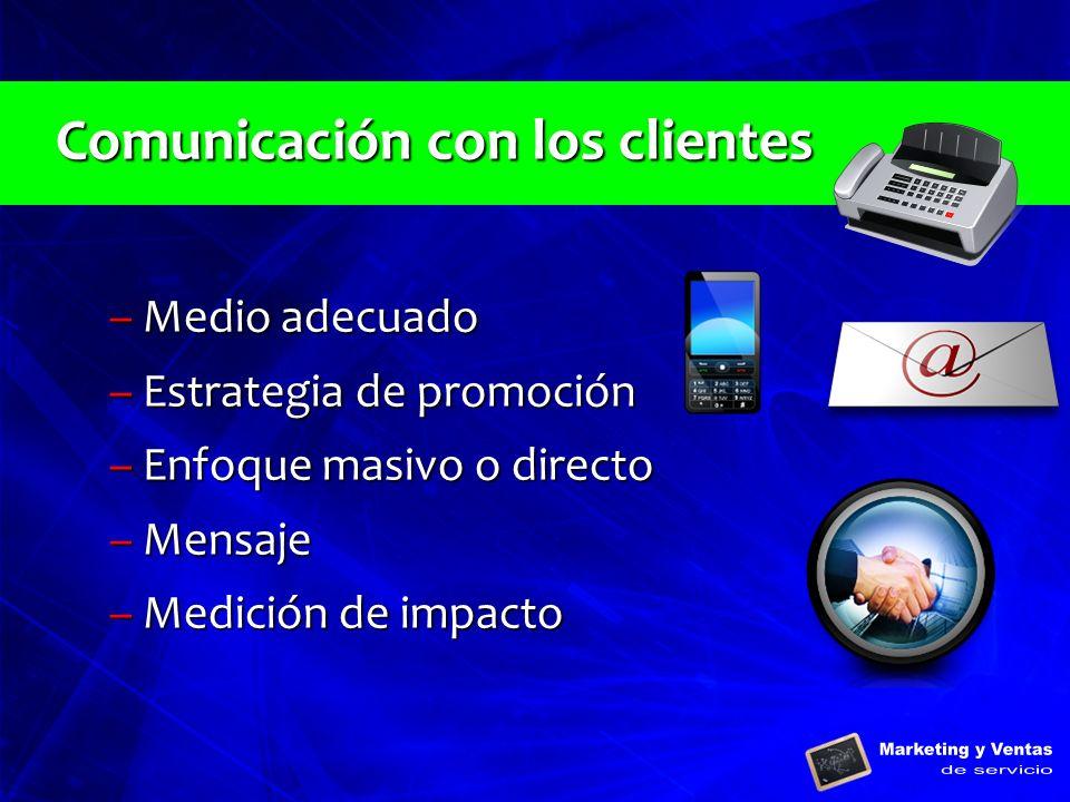 Comunicación con los clientes –Medio adecuado –Estrategia de promoción –Enfoque masivo o directo –Mensaje –Medición de impacto